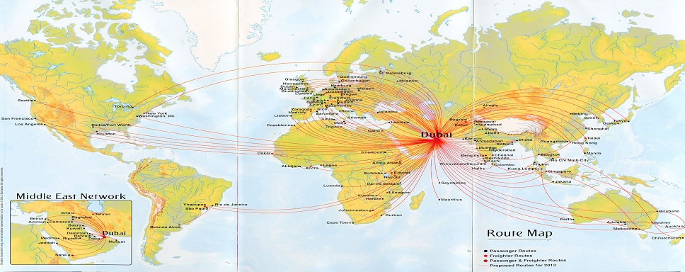 Hubs and Destinations served by Emirates Airlines Reservations