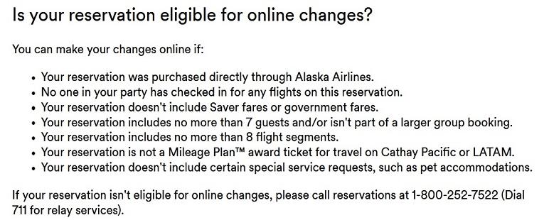 Am I Eligible to change my Alaska Reservation online